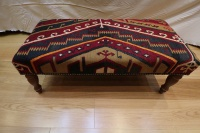 R7725 Antique Bench Kilim Stools