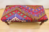 R7729 Antique Turkish Kilim Bench Stools