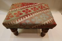 R4742 Antique Turkish Kilim Footstool