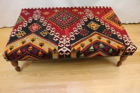 R5230 Antique Turkish Kilim Ottoman Stool Table