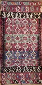F1390 Antique Turkish Konya Kilim Rug