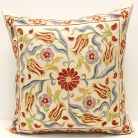 C17 Silk Suzani Pillow Cover