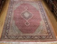 R9057 Fine Persian Silk and Wool Tabriz Carpet