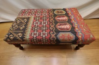 R7598 Hand Woven Kilim Ottoman Stool Table