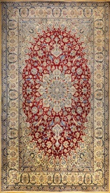 R6064 Persian Silk and wool Nain Carpet
