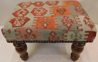 R7749 Vintage Kilim Covered Footstools