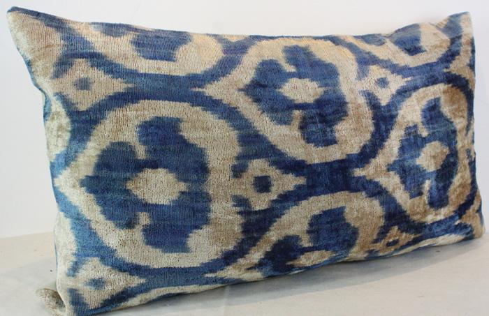 ikat silk velvet pillow cover