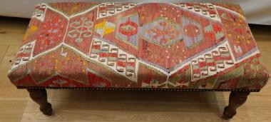 R7591 Antique Anatolian Bench Kilim Stool