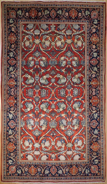 R5770 Antique Persian Silk and Wool Kashan Rug