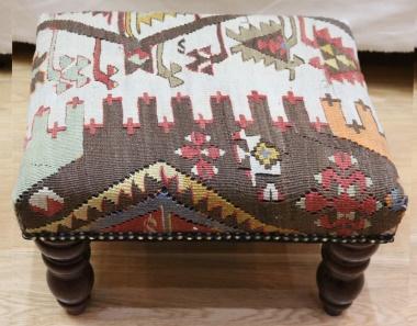 Antique Turkish Kilim Footstool R4742
