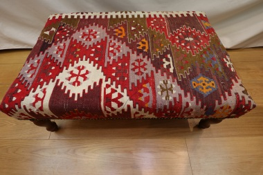 R7433 Antique Turkish Kilim Ottoman Stool