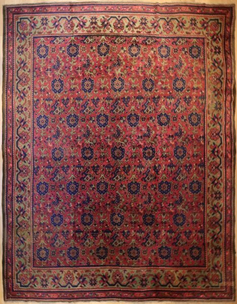 R9312 Antique Turkish Ushak Carpet