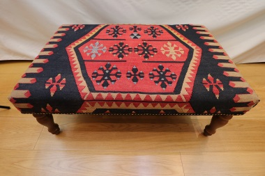 R7595 Handmade Turkish Kilim Coffee Table Ottoman
