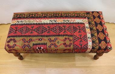 R7592 Handmade Vintage Kilim Bench Covered Stools