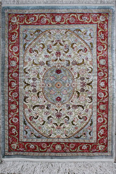 Wonderful Turkish Hereke Silk Rug R4825