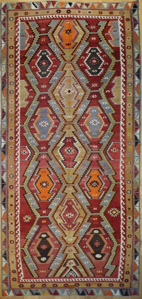 R8743 Large Antique Turkish Kilim Rug