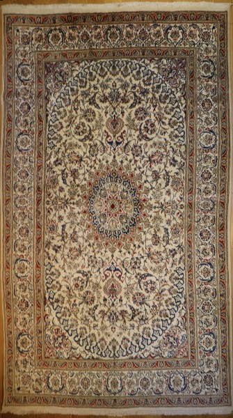 R7966 Persian Silk and wool Nain Carpet