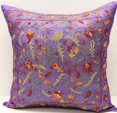 C19 Silk Suzani Cushion Cover