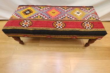 R4015 Turkish Large Bench Kilim Stool