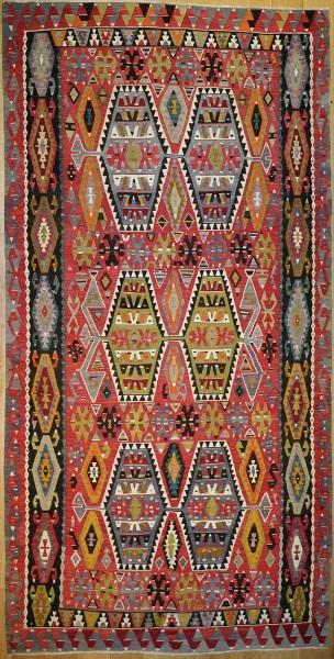 R7859 Vintage Large Turkish Kilim Rugs London UK