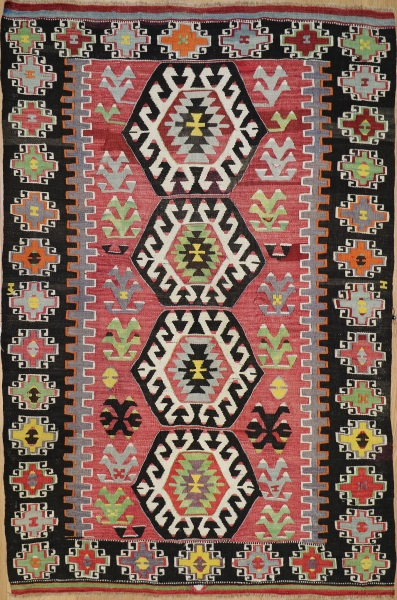 R8713 Vintage Turkish Kilim Rug