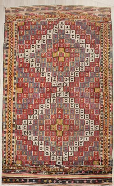 R7828 Vintage Turkish Kula Kilim Rug